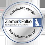 Ausbildungssiegel Hundetrainer zertifiziert nach §11, Abs.1, Nr. 8f TierSchG durch das Veterinäramt Hamburg bei Ziemer & Falke
